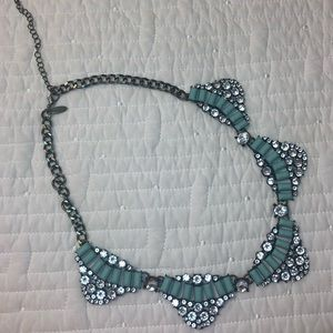 Natasha Couture Turquoise and Crystal Necklace